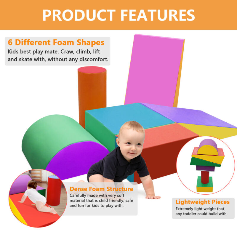 6 Pcs Kids Toddlers Play DIY Crawl Foam Shapes Set Climb Slide Safe Active Play