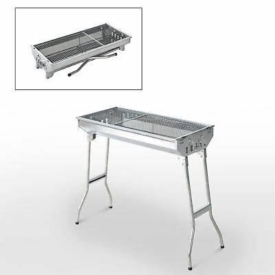 "29"" Fordable BBQ Charcoal Grill Stainless Steel  Backyard Cooker Silver  Party"