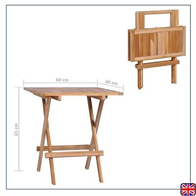 Solid Teak Folding Bistro/Coffee Table Garden Table 60x60x65cm Outdoor Furniture