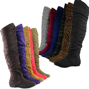 Sexy-Womens-Over-Knee-Faux-Suede-Stretch-Thigh-High-Slouchy-Flat-Heel-Boots-Shoe