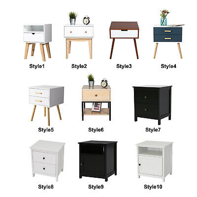 - Wood Nightstand Side End Table Sofa Bed Bedside Stand Furniture Storage 10 Style