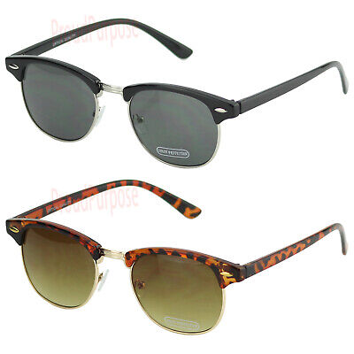 New Mens Womens Horn Frame Sunglasses Vintage 80s Clubmaster Retro Metal (Clubmaster Women)