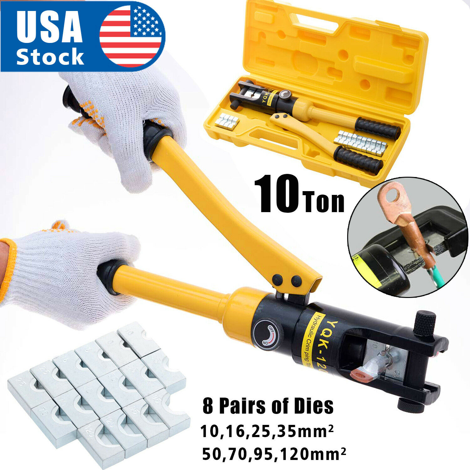 10 Ton Hydraulic Wire Crimper Battery Cable Lug Terminal Crimping Tool w/ 8 Die Business & Industrial
