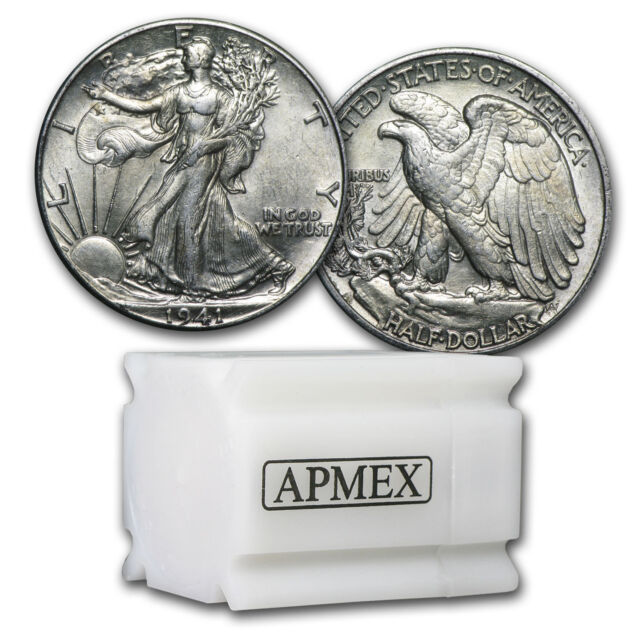 90% Silver Walking Liberty Halves - $10 Face Value Roll - Random Years - AU