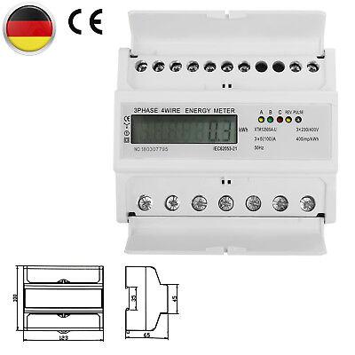LCD Drehstromzähler 3-Phasen-4-Draht DkWh Für DIN Hutschiene 5(100A) Stromzähler