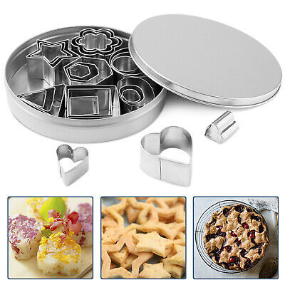 24PC Biscuit Cutters Mini Cookie Cutter Set Stainless Steel Baking Pastry Moulds