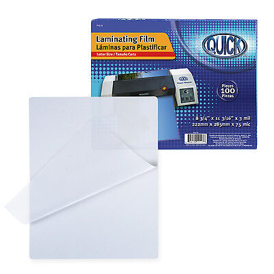 3 Mil Laminating Pouches 100 Pack Letter Size 8.75x11.19 In Box- Heat Seal
