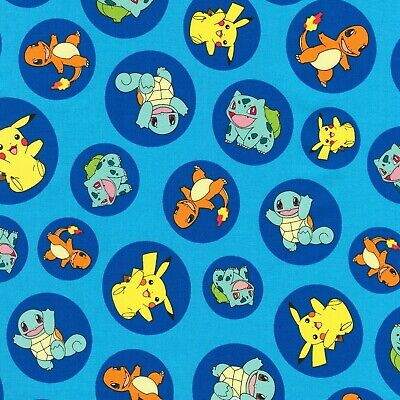 Blue Pokemon Circles Fabric Material