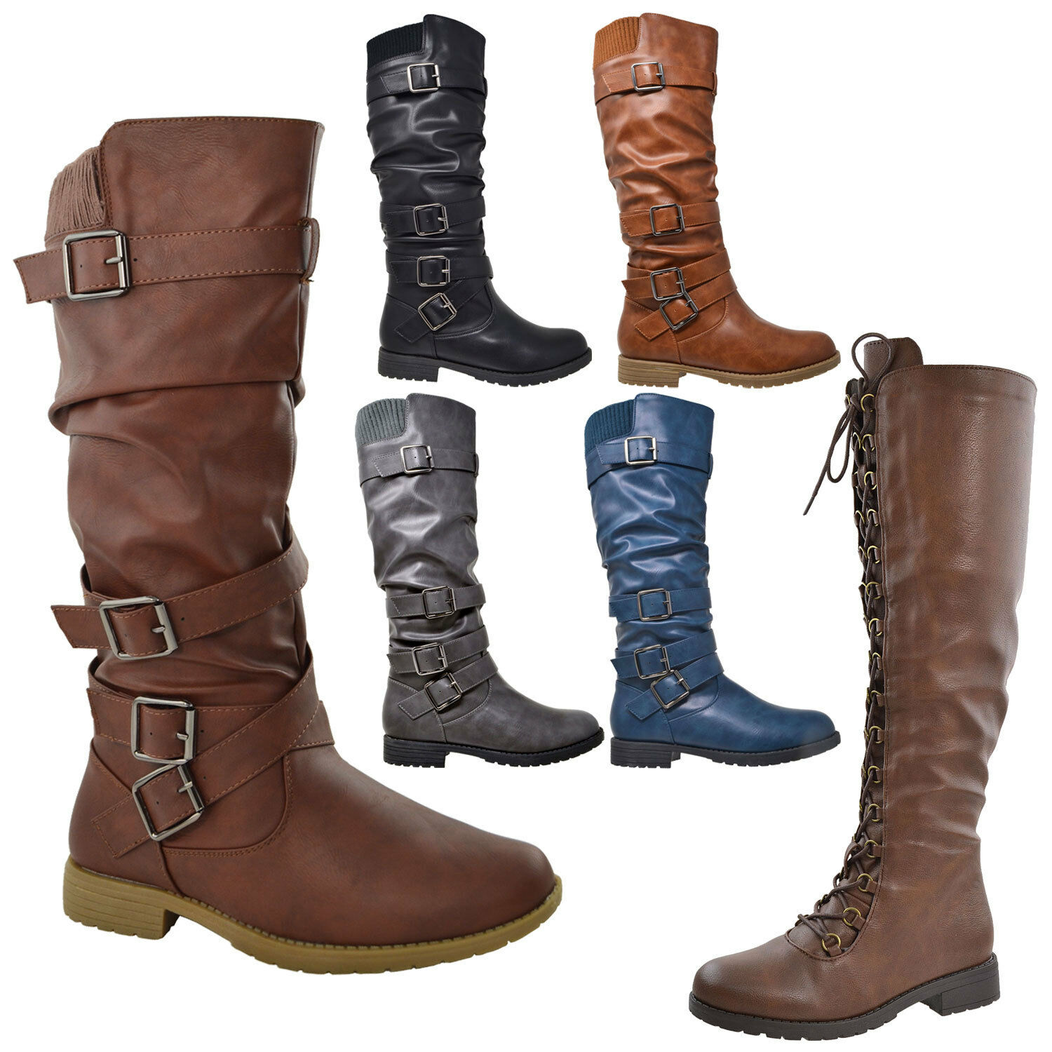 Womens Knee High Boots Lace Up Combat Faux Leather Block Hee