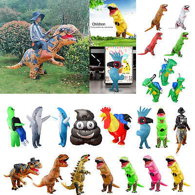 Adult Kid T-REX Inflatable Dinosaur Costume Christmas Fancy Dress Blowup Outfit