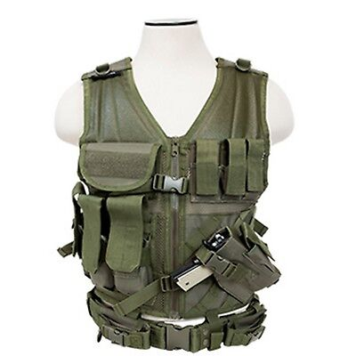 NcSTAR 2XL OD Green Military LE MOLLE X-Draw Gun Tactical Combat Assault Vest