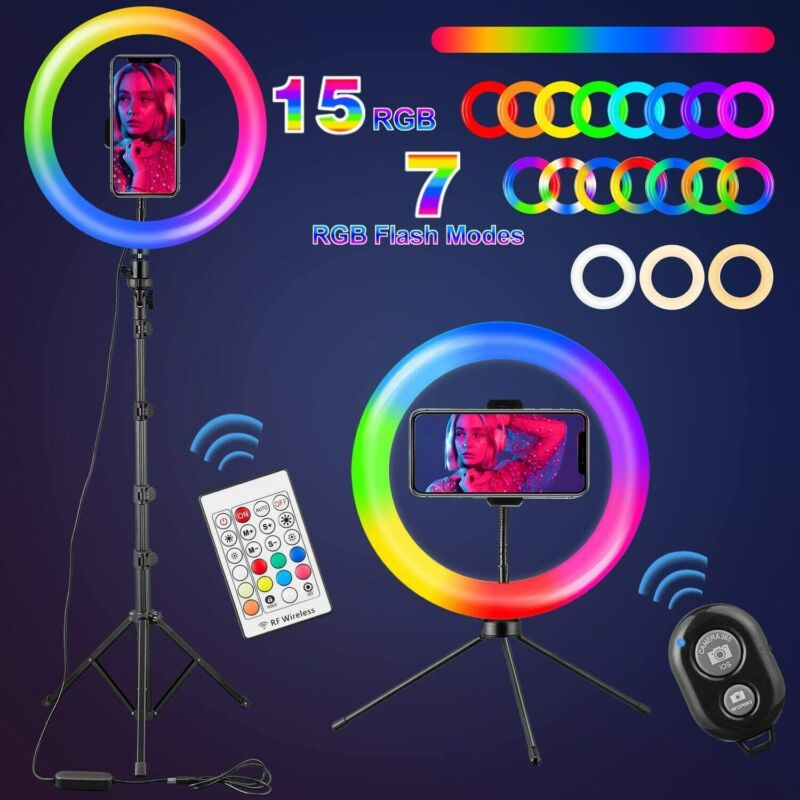 LED Selfie Ring Light 21 RGB Color Dimmable Ring Light Tripod Stand+Phone Holder