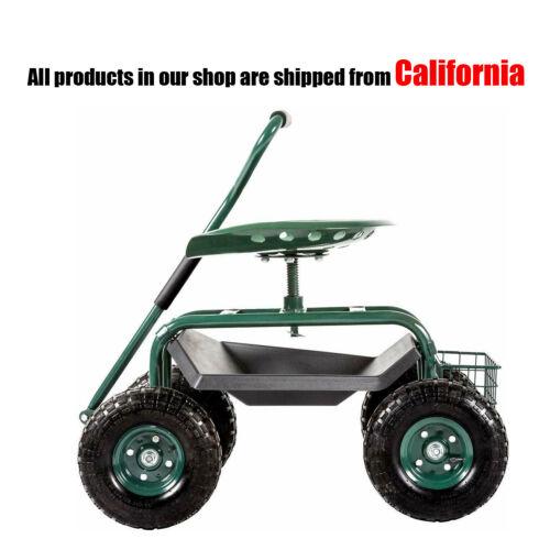 Garden Cart Rolling Work Seat Outdoor Gardening Planting Stool W/Handles&basket