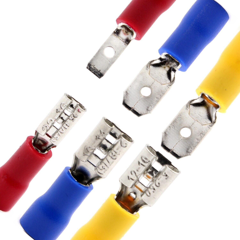 Flachstecker Steckverbinder Flachsteckhülsen Kabelschuh 1,5-2,5mm² Blau 2,8mm