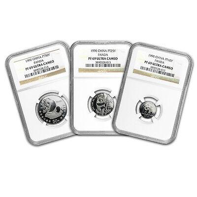 Platinum Ngc Coin Set - 1990 China 3-Coin Platinum Panda Proof Set PF-69 NGC - SKU#85506