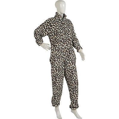 Womens Leopard Print Jumpsuit Romper Ladies Zip Up Super Soft Fleece All In - Leopard Onesie For Women