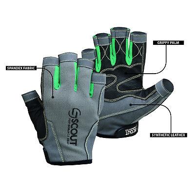 Premium Sailing Gloves Kayak Fishing Water Sports 3/4 Finger Grippy Palm Spandex