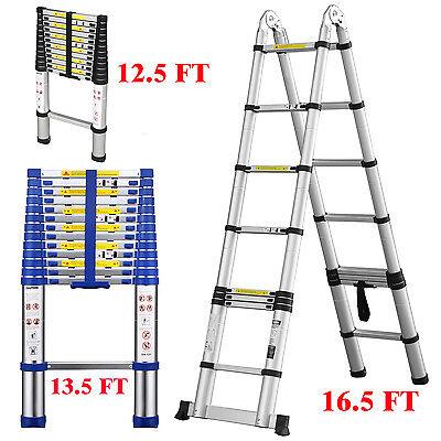 12.5ft 13.5ft 16.5ft Aluminum Multi-purpose Telescopic Ladder Extension Foldable