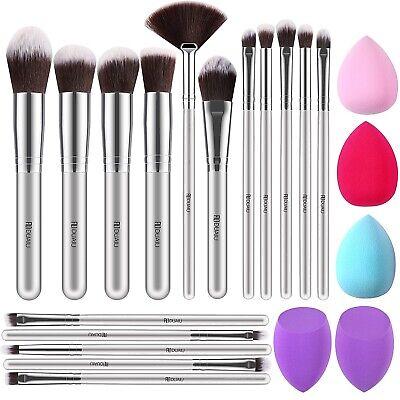Set da 16 Pennelli Professionali Make-up Trucco Ombretto Kit Brush con 5 Spugne