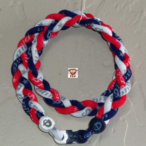 Phiten Titanium Triple Braid Custom - New Navy/White/Cardinal Red