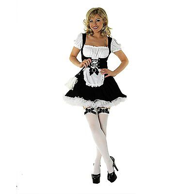 French Maid Corset Costume (Ladies French Maid Fancy Dress Costume Womens Sexy Corset Maid Outfit + Duster)