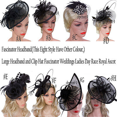Fascinators Hair Clip Headband Hat Bowler Feather Veil Wedding Party  Ladies - Party Hat Headband