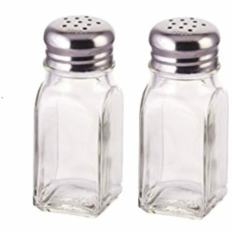 Salt and Pepper Shakers with Stainless Tops Set of 2 Square Glass
