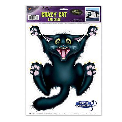 Crazy Cat Car Cling Party Accessory, 1 Count Cat Halloween Car Window Decoration (Crazy Halloween Party)