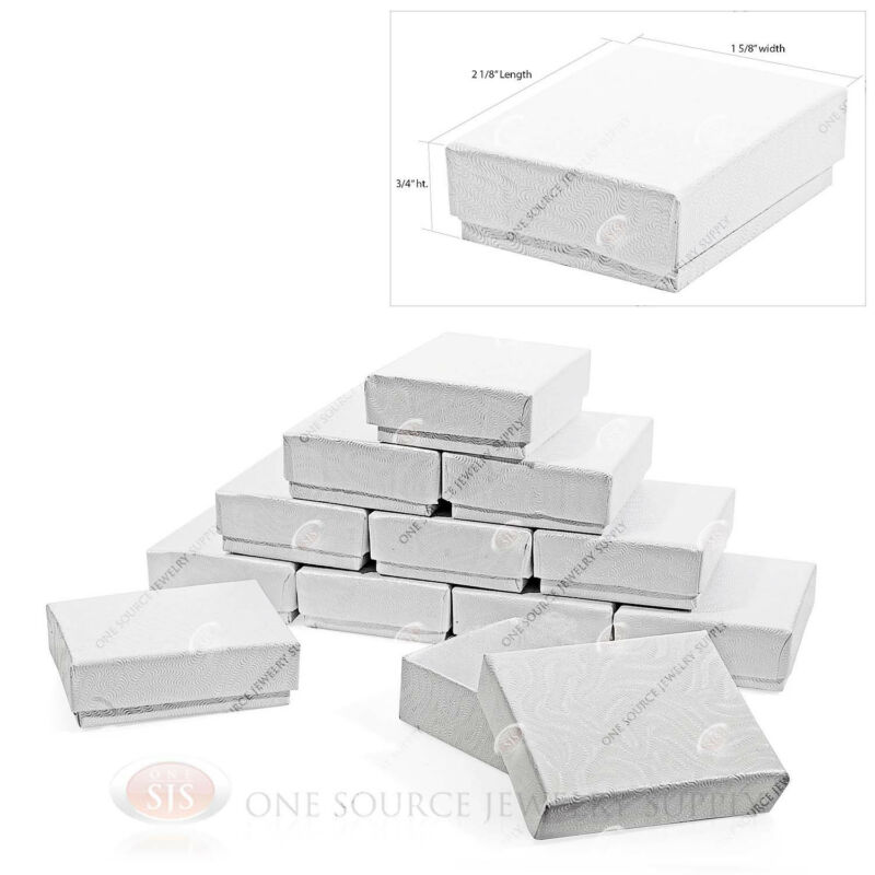 """12 White Swirl Cardboard Cotton Filled Jewelry Gift Boxes 2 1/8"""" X 1 5/8"""" X 3/4"""""""