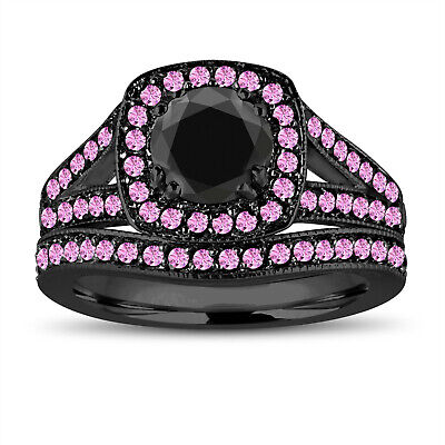 Enhanced Black Diamond & Pink Sapphire Engagement Ring Set, 14k Black Gold