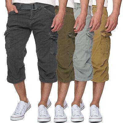 INDICODE Herren 3/4 Karierte Cargo Shorts Bermuda kurze Hose Jeans Denim Leinen