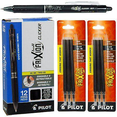 Pilot-frixion Clicker Erasable Pen-gel Ink- Black-12 Pens With 2 Refills Set New