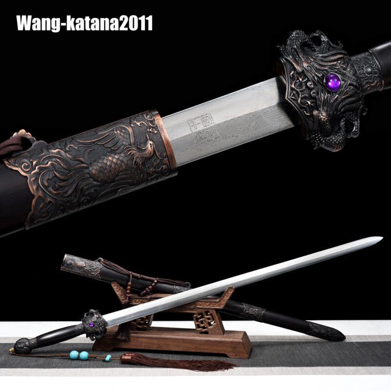 Handmade Chinese Folded Steel Dragon & Phoenix Sword Ebony Qing Dynasty Jian