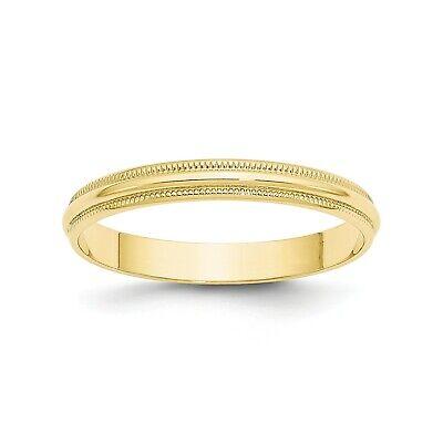 10k Yellow Gold 3mm Engravable Milgrain Half Round Wedding Band 3mm Half Round Wedding Band