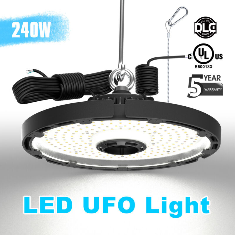 Dimmable UFO LED High Bay Light 240W Factory Warehouse Industrial Shop Light