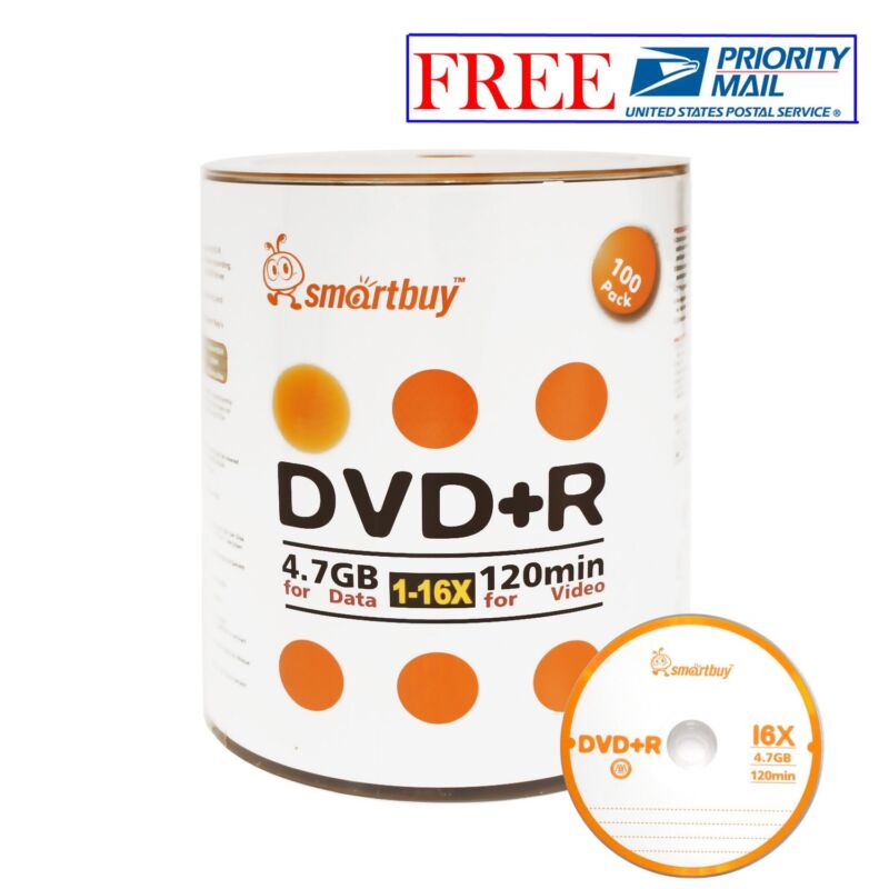 100 Pack Smartbuy 16x Dvd+r Dvdr 4.7gb Logo Top Data Video Blank Recordable Disc