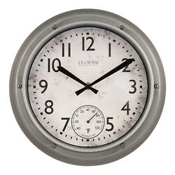 T84220 La Crosse Clock Co. 12 Indoor/Outdoor Analog Wall Clock with Temperature