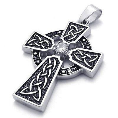 Mendino Mens Womens Stainless Steel Pendant Necklace Irish Knot Celtic Cross