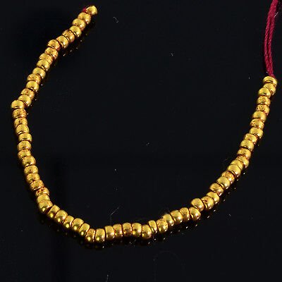 """1.8mm 18k Solid Gold Plain Rondelle Spacers Beads 3"""" Strand (70)"""