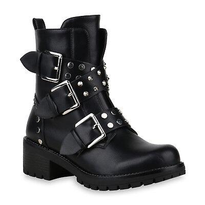 Bootie (Damen Stiefeletten Biker Boots Modische Nieten Booties 826306 Schuhe)