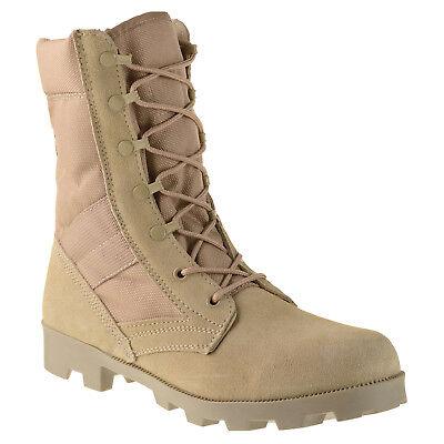 """Ameritac 9"""" Side Zip Suede Leather Combat Work Outdoor Men's Desert Tan Boots"""