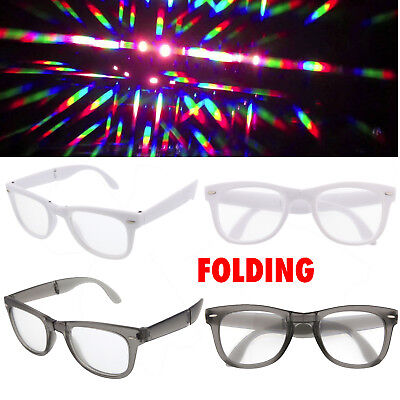 Folding Diffraction Rave Glasses Trippy Rainbow Prism Gradient Effect (Trippy Shades)