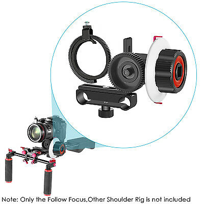 Neewer Follow Focus with Gear Ring Belt for Canon Nikon Sony DSLR-Red+Black