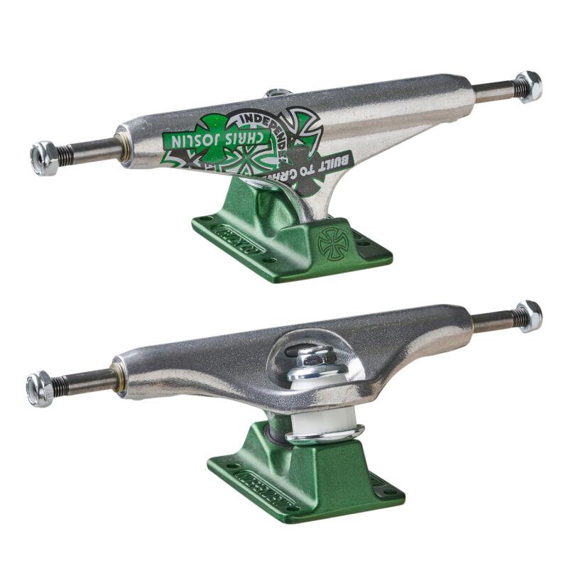 "Independent Skateboard Trucks Forged Hollow Joslin Silver/Green 139 (8.0"") Pair"