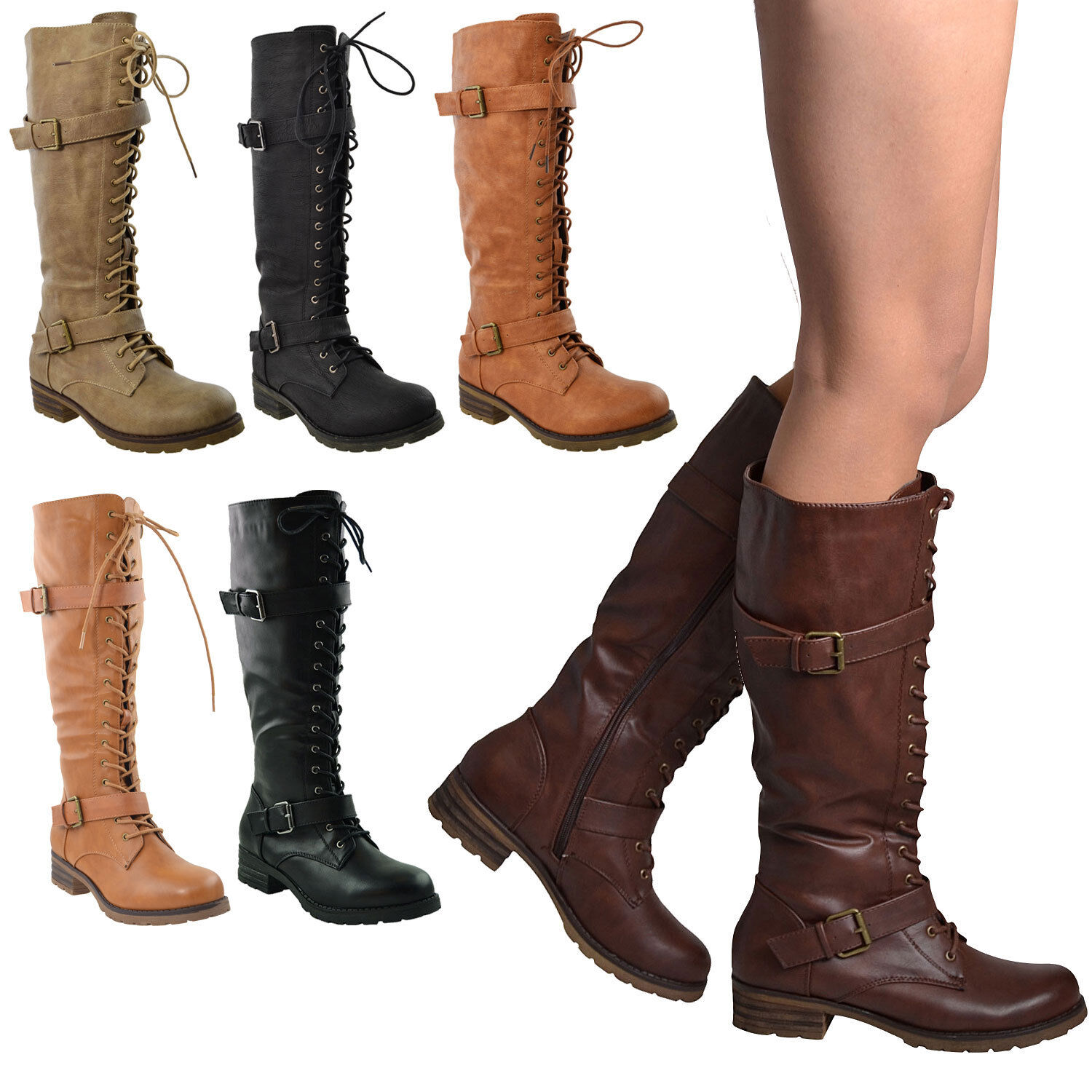 a793a7c2bed7 Details about Womens Lace Up Combat Western Leather Knee High Boots Buckle  Straps Black Tan