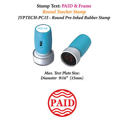 PAID & Frame -Round Stamp PC15 Pre-Inked Stamp (Red Ink)