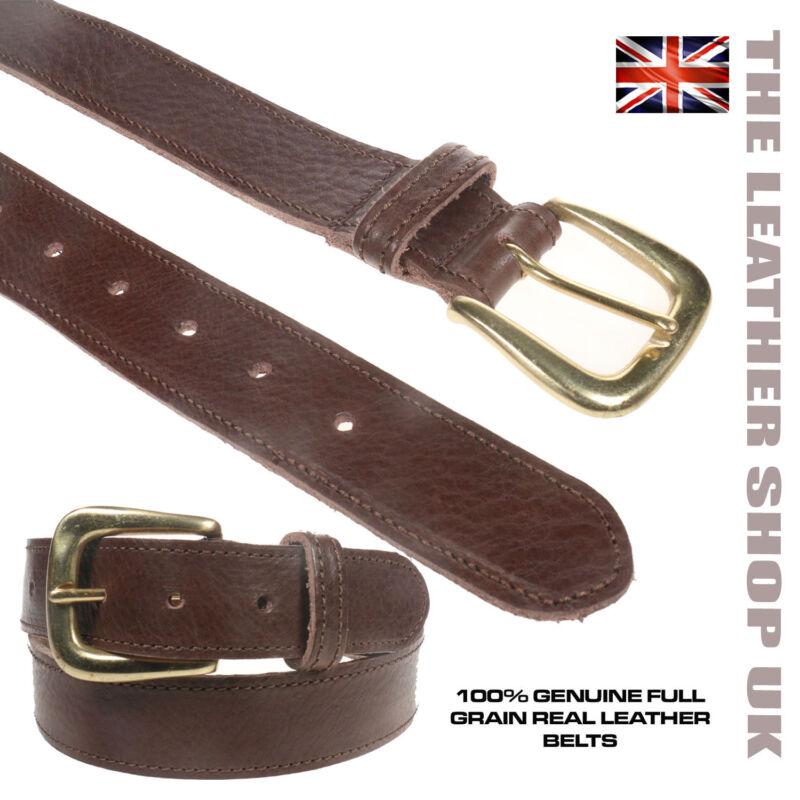 Made In England 35mm Brown Soft Stitched  Full Grain Hide Leather Belt For Mens