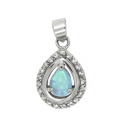 SILVER VINTAGE SYNTHETIC OPAL CHARM OR PENDANT