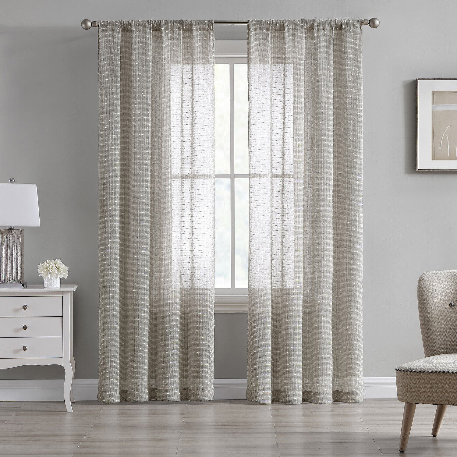 84″ Sheer Tan Beige Textured 2-Panel Pair Window Curtains Rod Pocket Drapes Curtains & Drapes