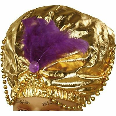 Genie Turban Adult Costume Hat Gold Sheik Karnak Sultan Swami Purple Feather Gem (Sultan Turban)